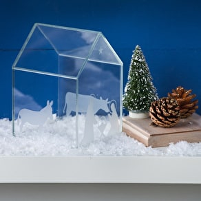 Christmas Nativity Glass Display House
