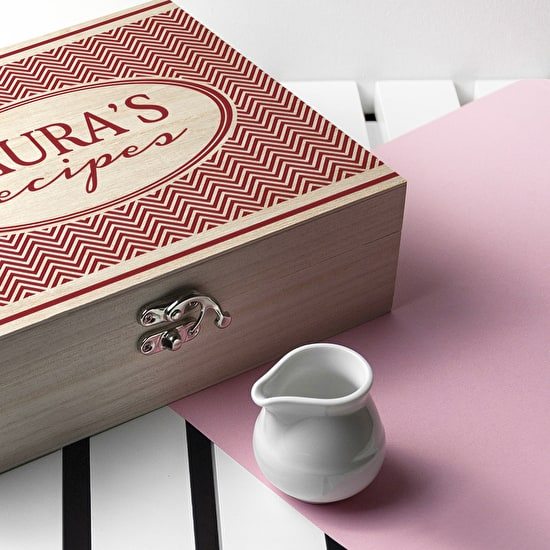 Personalised Retro Chevron Recipe Box
