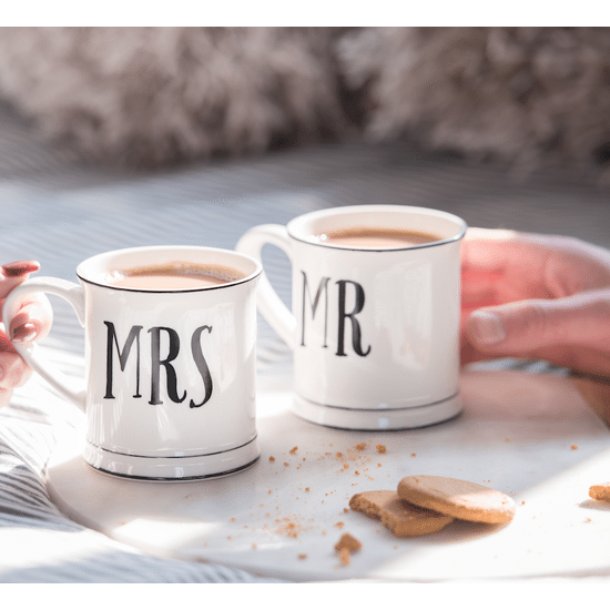 A Set Of Mr And Mrs Typographic Mugs