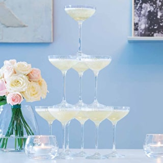 Monogrammed LSA Champagne Coupe Stack