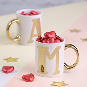 Bright Letter Mug With Speckled Easter Eggs