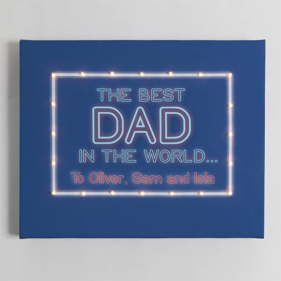 Personalised 'Best Dad' Light Up Canvas