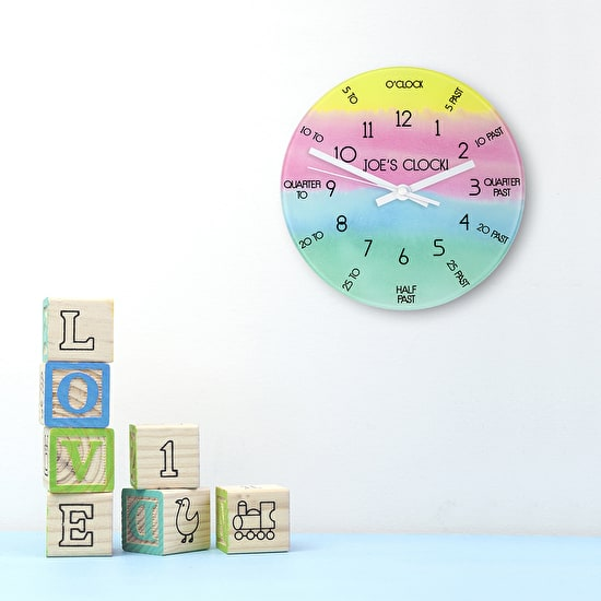 Lifestyle image of the Personalised I can tell the time clock with playing bricks