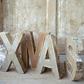 A Set Of Four Bark Festive Letters