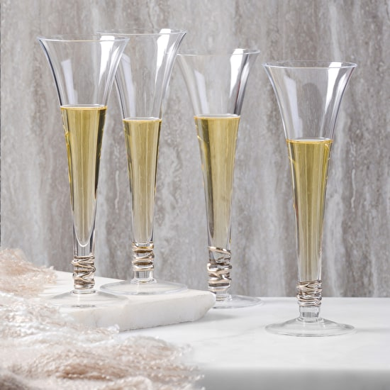 Monogrammed LSA Set Of Four Prosecco Flutes