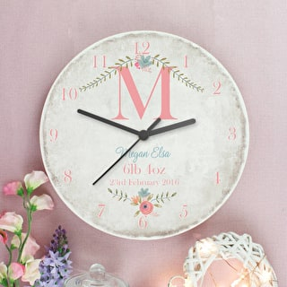 Personalised Floral Wooden Clock
