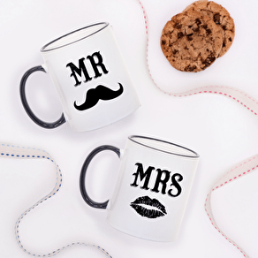 A Pair Of Mr And Mrs Moustache Mugs