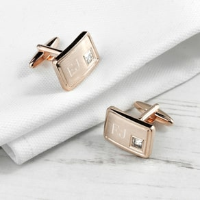 Rose Gold Plated Cufflinks With Crystal