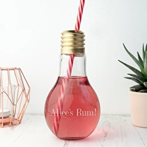 Personalised Lightbulb Glass With Straw