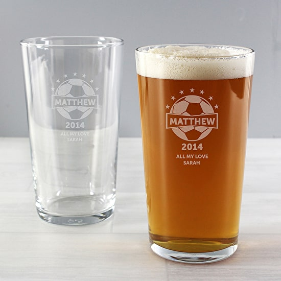 Personalised Etched Football Beer Glass