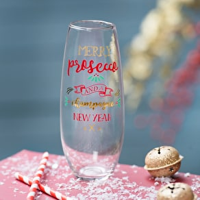 Stemless Christmas Prosecco Glass