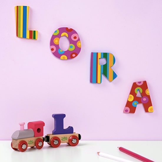 Girls Stripes and Spots Wooden Letters