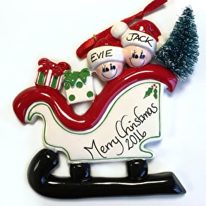 Personalised Family Sleigh Decoration