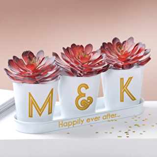 Gold Monogram Wedding Buckets