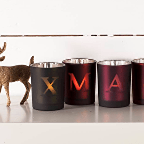 Set Of Xmas Glass Votives