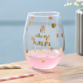 Stemless Gold Spot Wine Glass