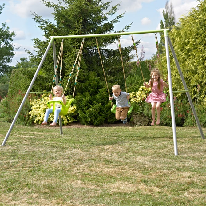 TP Triple Metal Swing Frame with Early Fun Baby Seat and Lime Green Swing Seats