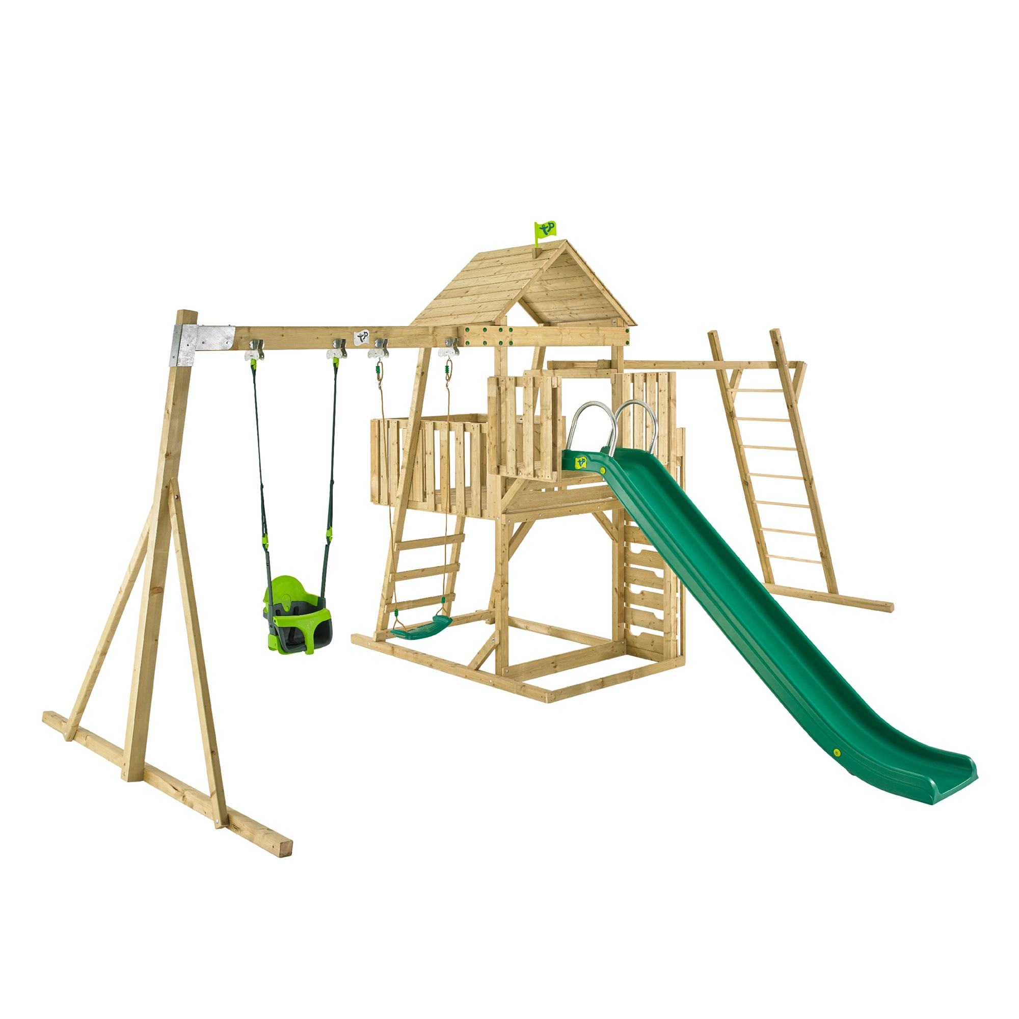 TP Kingswood2 Tower with swings, slide, climbing bridge and swing ...
